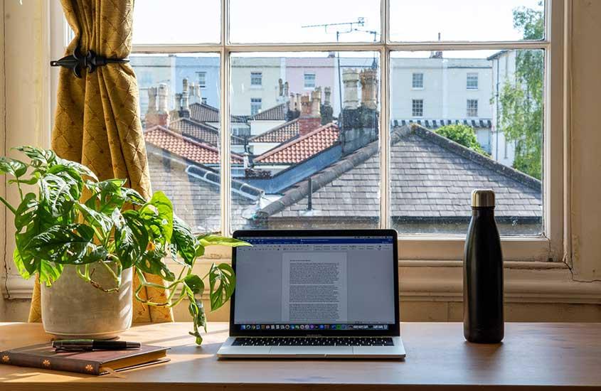 Notebook, planta, caderno e garrafa de água em cima de mesa de trabalho de nômade digital