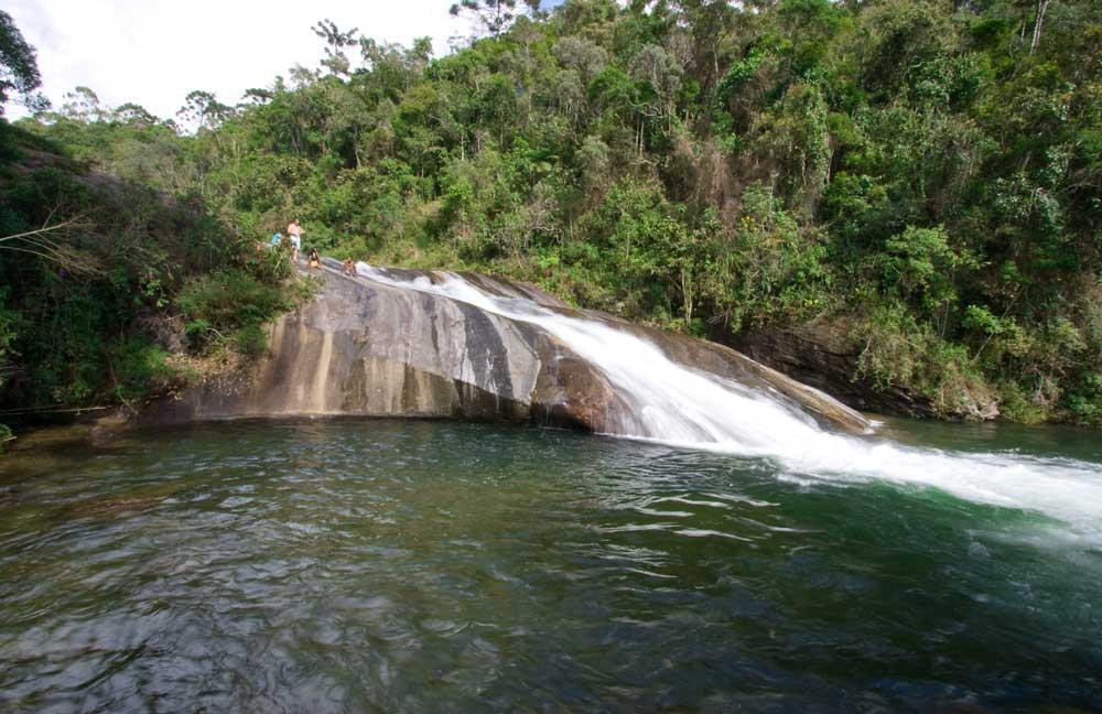 pessoas escorregam em cachoeira um dos principais atrativos entre muito o que fazer em Visconde de Mauá