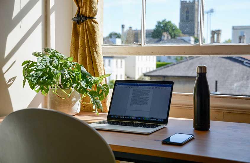 Notebook, celular, garrafa e vaso de planta em cima de mesa de escritório