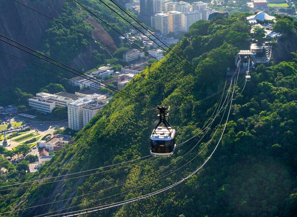 teleférico branco e preto passando em cabos que conectam o topo de duas montanhas, no Rio de Janeiro