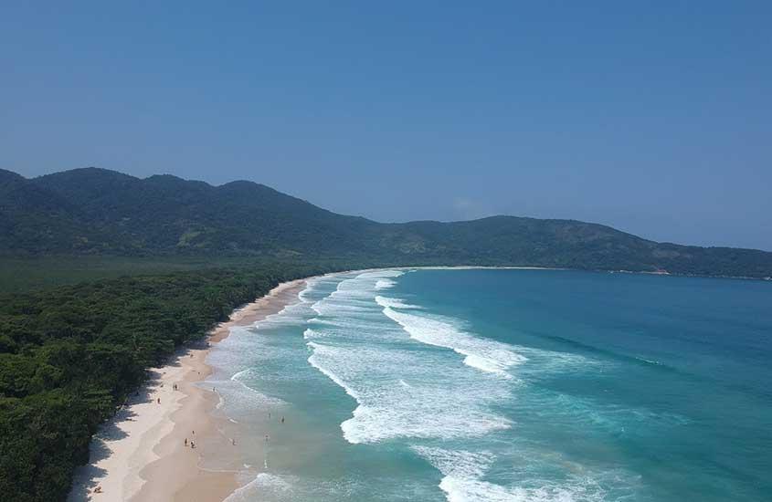 vista aérea de mar, areia e vegetação ao redor de praia de Lopes mendes