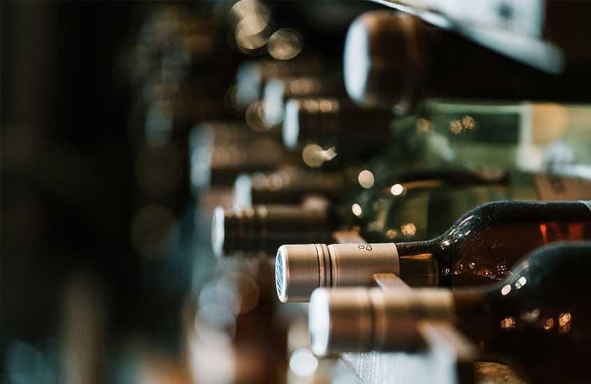garrafas de vinho, uma das curiosidades sobre a África do Sul é que seus vinhos são mundialmente famosos