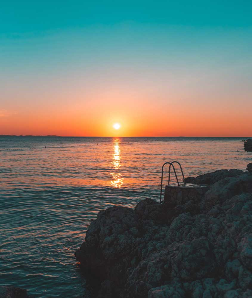 entardecer em Zadar, uma das curiosidades da Croácia é que ela tem o melhor pôr do sol do mundo