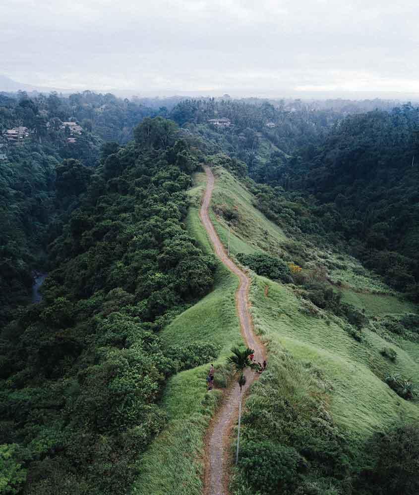 estrada em montanha verde, de Bali. Uma das curiosidades da Indonésia é que ela tem uma das melhores ilhas do mundo