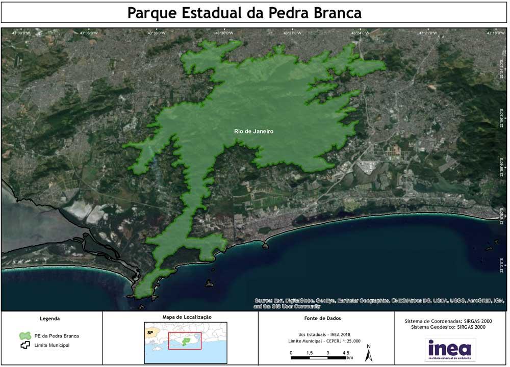 Mapa de parque estadual da pedra branca. Um lugar para visitar por quem busca o que fazer em vargem grande rj