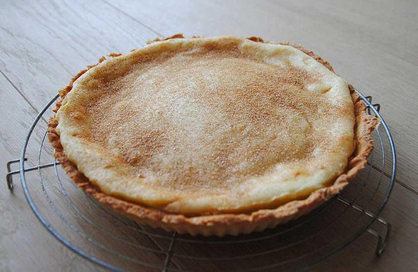 torta conhecida como melktert, é uma famosa comida da África do sul