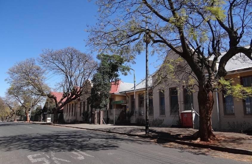 casas e árvores em rua de Melville, um bairro tranquilo que contradiz quem acha que Joanesburgo é perigoso