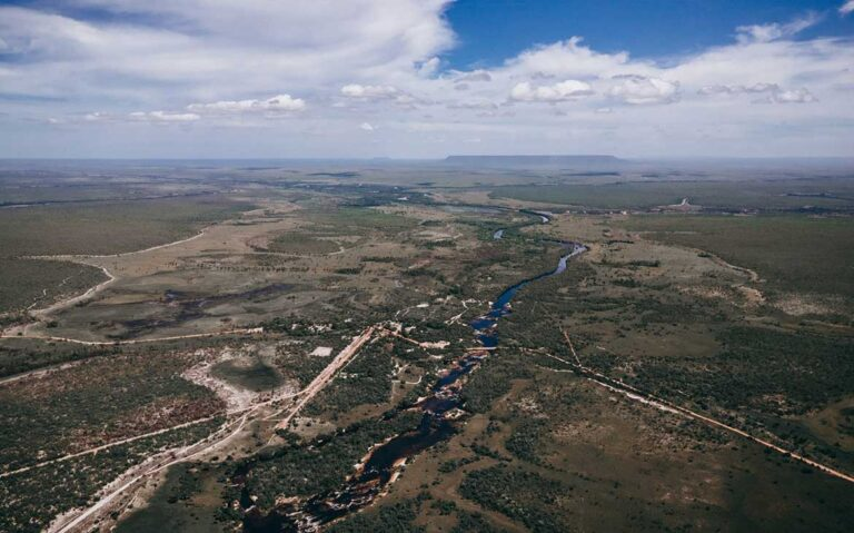 vista aérea de árvores e rios em palmas Tocantins