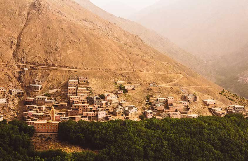 vista aérea de casas em medina do Marrocos